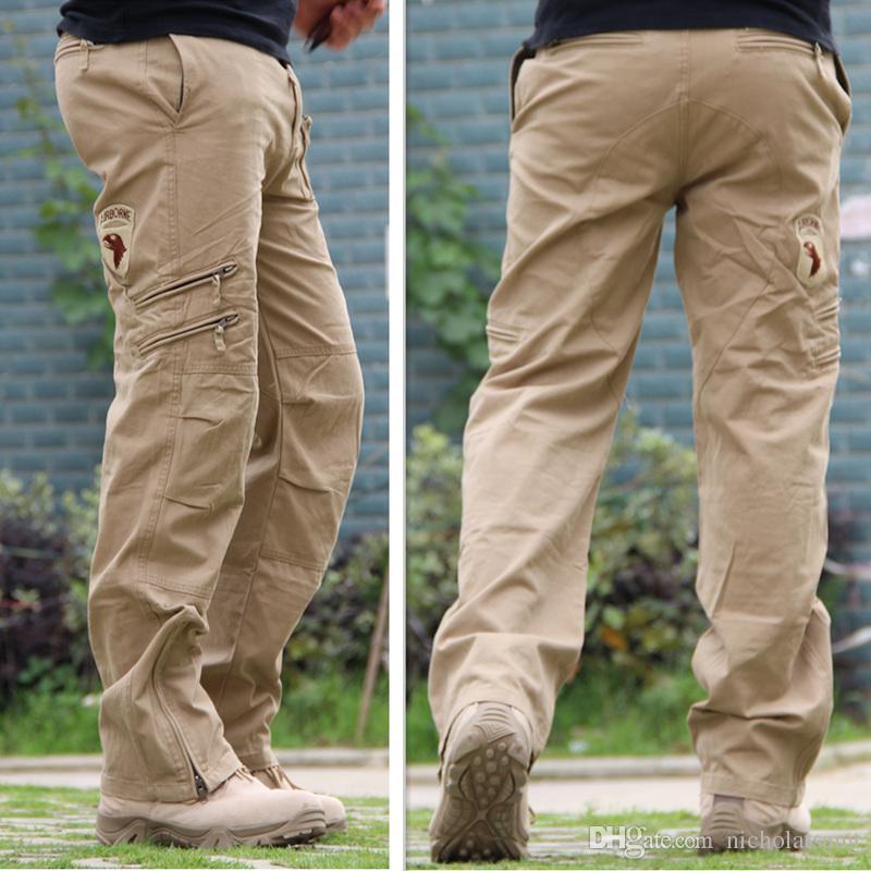 101 Havadan Kot Rahat Eğitim Artı Boyutu Pamuk Nefes Erkekler Için Çok Cep Askeri Ordu Kamuflaj Kargo Pantolon