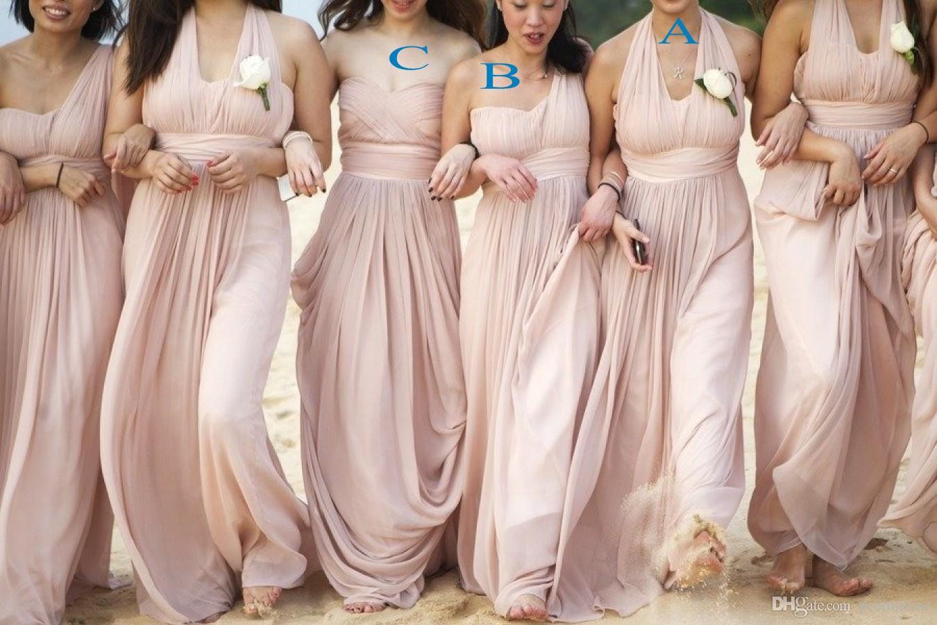 df8d814da4cf2 ... 2018 Nude Blush Bridesmaid Dresses Different Styles Chiffon A Line Bridesmaid  Gowns Ruffles Floor Length Beach ...