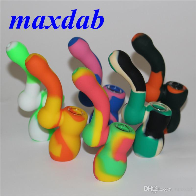 Conception créative Silicone Tabac Fumer Tuyaux Mini eau silicone Narguilé Bong Multi Couleurs Portable Shisha Main Pipes