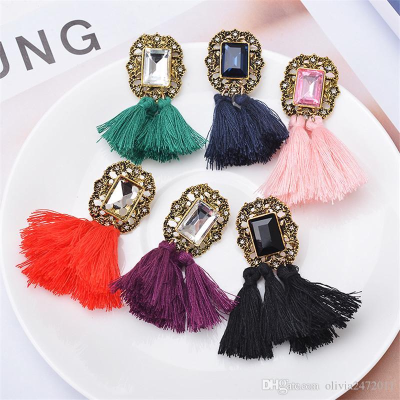 New Fashion Vintage Silver Rhinestone Tassel Earring For Women Long Fringe Statement Drop Earring Mix Colors