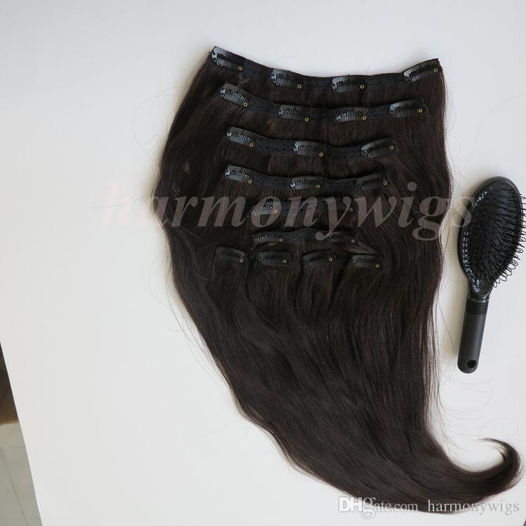 160 جرام 20 22 بوصة البرازيلي كليب في الشعر التمديد 100٪ الشعر البشري 1b # / قبالة الأسود ريمي مستقيم الشعر ينسج 10 قطعة / المجموعة مشط مجانا