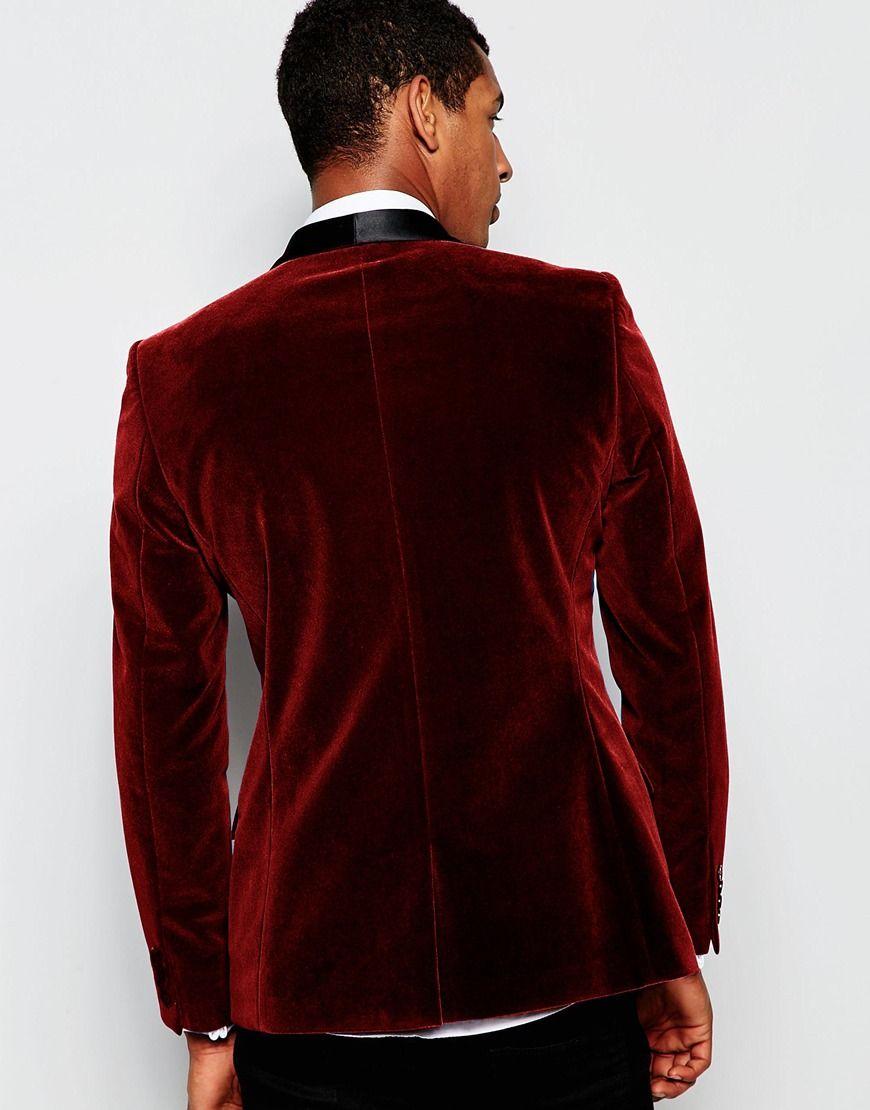 2016 Burgundy Velvet Slim Fit Mens Suits Custom Made Shawl Lapel Groom Tuxedos Wedding Prom Suits Black Pants Jacket+Pants+Bow Tie