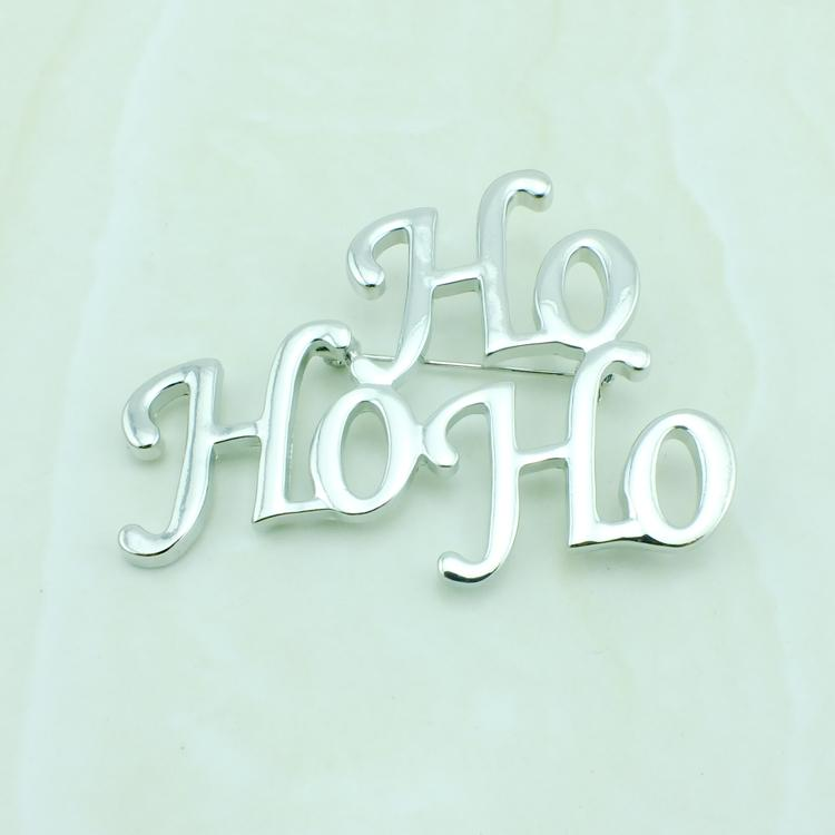 Wholesale Brand New Brooches Pins Fashion Silver Plated Letter HOHO Stainless Steel Brooches Christmas Decoration Jewelry