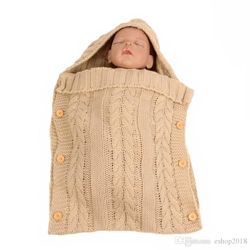Baby Knitted Blankets Newborn Handmade Sleeping Bags Toddler Winter Wraps Photo Swaddling Nursery Bedding Stroller Cart Swaddle Robes