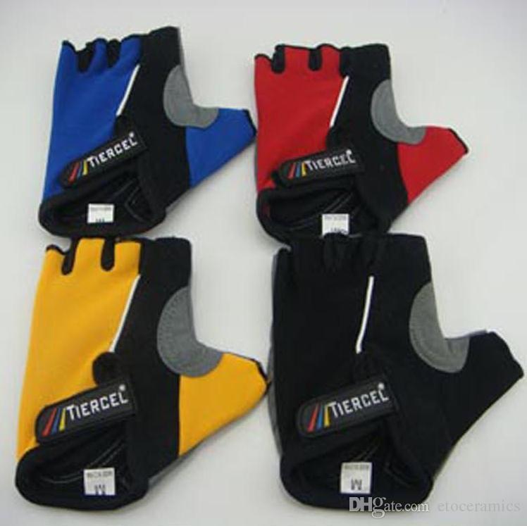 새로운 PRO Antiskid 자전거 사이클 라이드 산 손가락없는 장갑 젤 절반 손가락 야외 Tiercel 4 색 BXY002