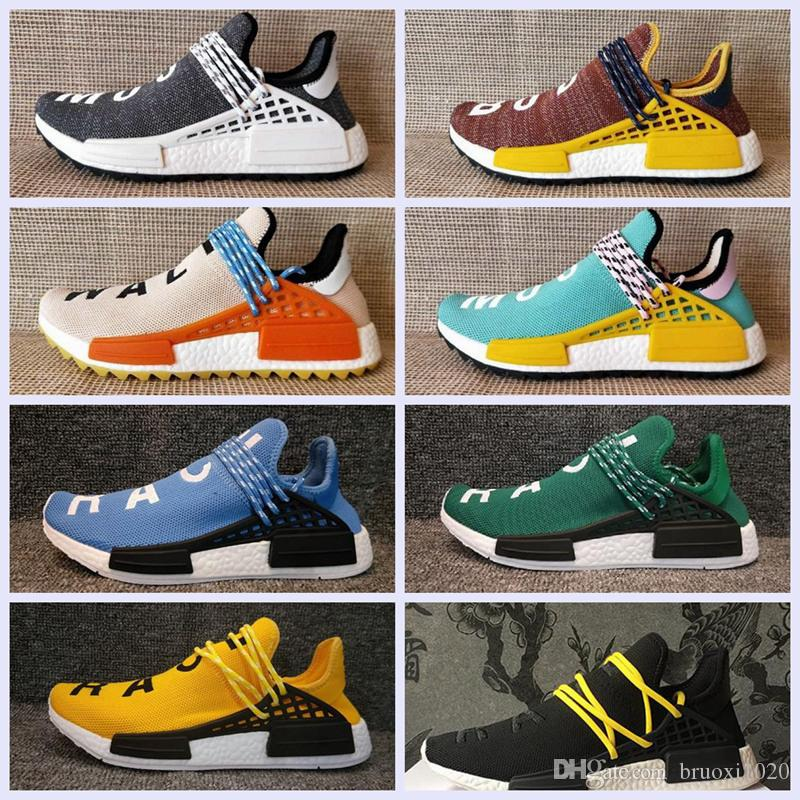2018 Big size NMD HUMAN RACE Trail boost Mens Running shoes nmds Hu ultra boosts yellow black white womens Sport sneakers US 5-12