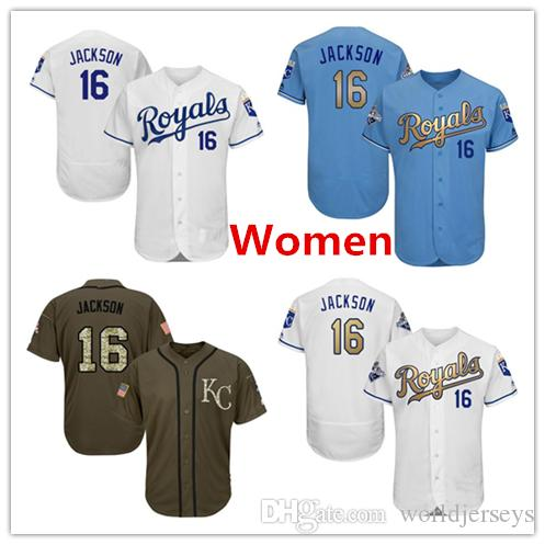 2019 Women Royals 16 Bo Jackson Baseball Jersey Light Blue Royal White Grey  Gray Green Salute Players Weekend All Star Team Logo Memorial Day From ... 12d6f95cdb