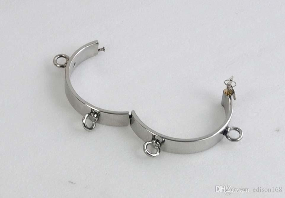 2018 Unisex Stainless Steel 4 Ring Necklet Neck Ring Collar Restraint Bondage Chastity Locking Bdsm Sex Games Toy Product