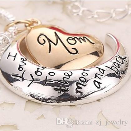 2019 de alta qualidade coração jóias eu te amo para a lua e volta mãe pingente de colar de presente do dia das mães por atacado moda jóias ZJ-0903221
