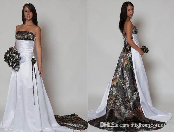 Discount Camo Wedding Dresses Custom Made Satin A Line
