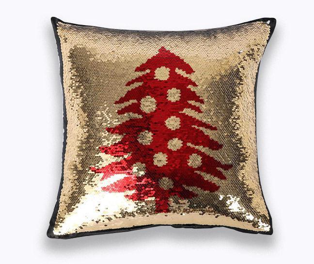 Cama Sofá Decorativa Funda de Almohada de Sirena de Doble Cara de Lentejuelas Funda de Almohada Bordado carta de Navidad numeral