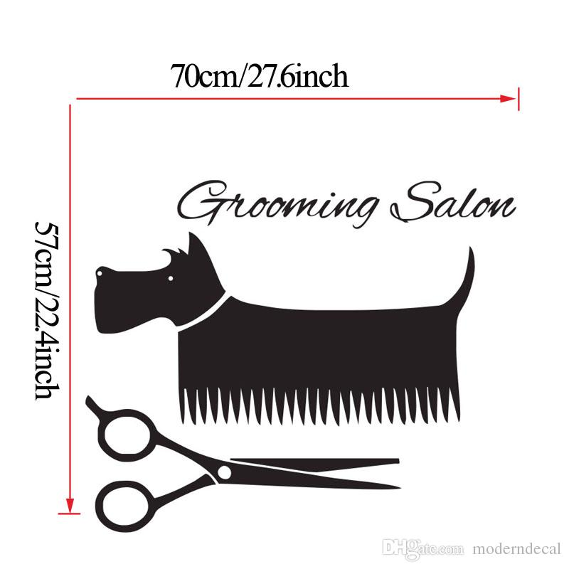 Schnauzer Dog Wall Decals Vinyl Grooming Salon Wall Decor Stickers Home Decor Pet Comb And Scissors Wall Stickers For Kids