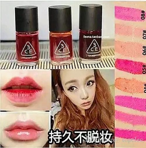 Barato!!! Coréia 3CE 3 Conceito Olhos Líquido À Prova D 'Água mini magia cereja rosa lábio matiz mancha de brilho labial batom Rouge Loção Mordida lábios