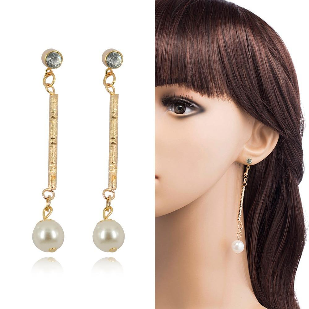 2015 Vintage Dangle Earrings Fashion Simple Pearl Earrings Long Earrings  Drop Earrings Gold Color Jewerly For Women Fine Jewelry