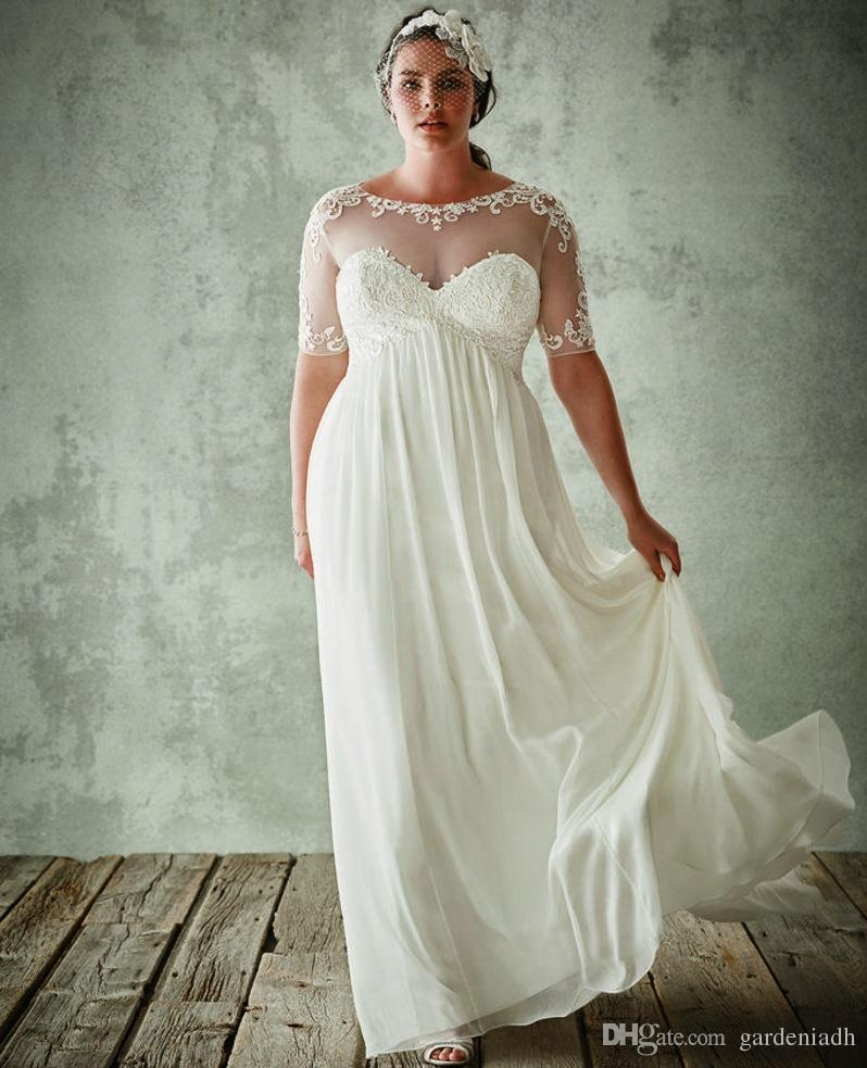 Discount Plus Size Beach Wedding Dresses With Sleeves Maternity