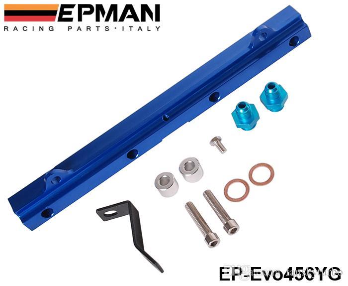 EPMAN Aluminium Billet Top Feed Injector Kraftstoffverteiler-Kits für Mitsubishi 4G63 EVO 456 EP-Evo456YG / TK-Evo456YG