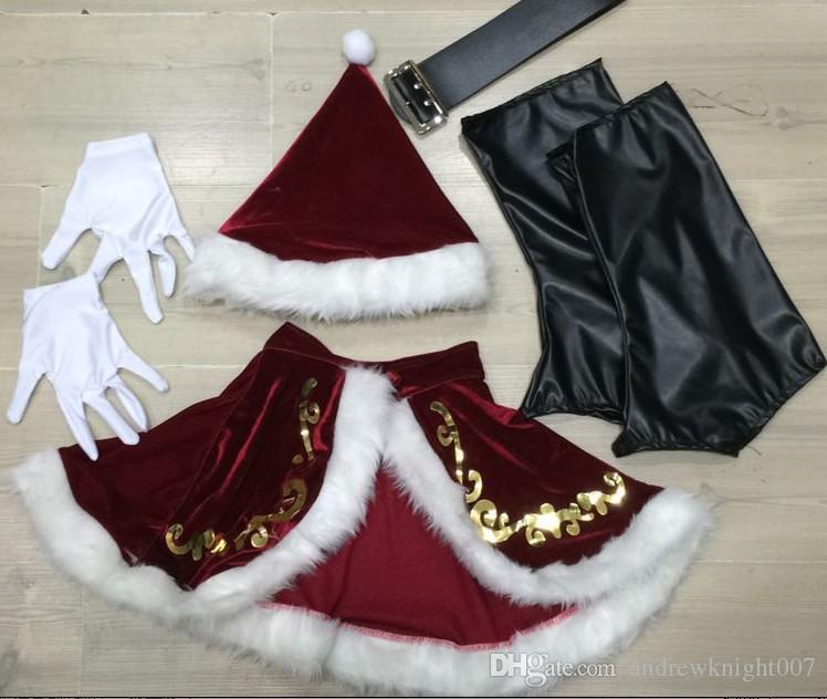 大人の赤いクリスマスの服サンタクロースの衣装のためのクリスマス衣装サンタクロースのフルセット男性女性のための贅沢な制服クリスマス衣装