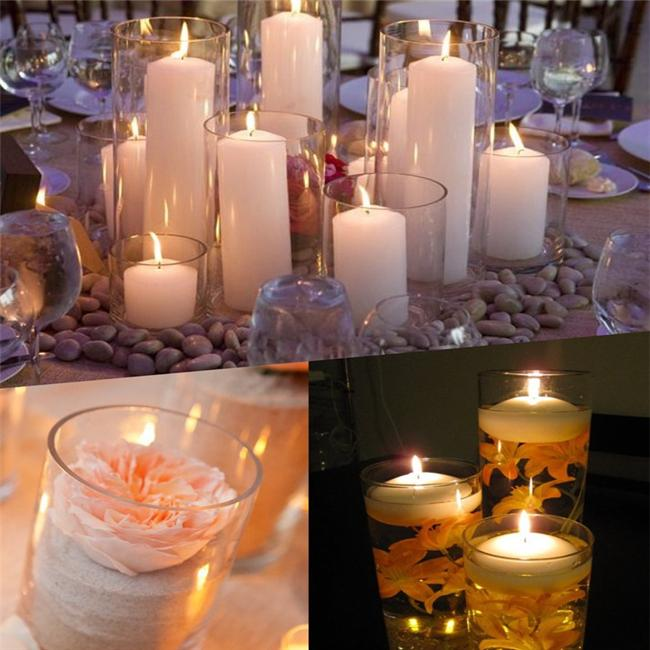 Glass Candle Holders Pillar Candle Holders 3 Glass Cylinder Tealight Candle Holders Wedding Table Decor Centerpiece Cylindrical transparent