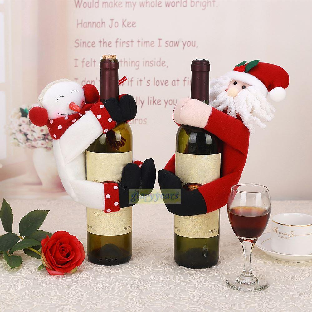 2016 new towel bottle cover christmas home table holiday party gift supply xmas santa claus snowman wine holder cover decoration party decor christmas - Christmas Decorations 2016