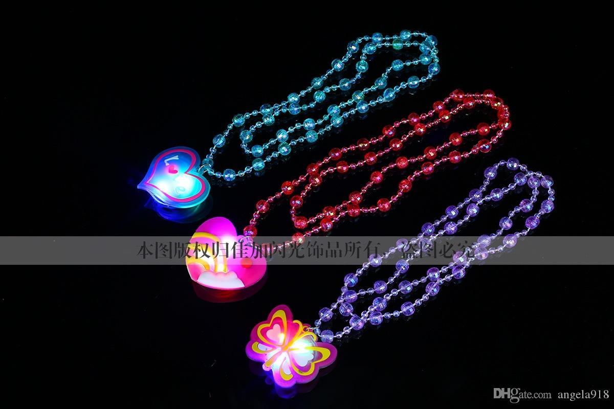 2015 새로운 할로윈 LED 장난감 Catoon 귀여운 동물 플래시 목걸이 LED 목걸이 비즈 chrismas 선물 혼합 스타일 E053