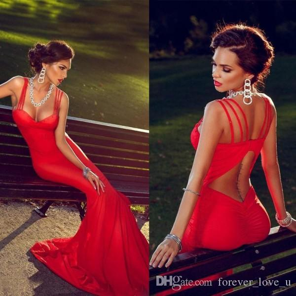 Fitted Sexy Prom Dresses Mermaid Long Formal Red Evening Party Gowns Sweetheart Neckline with Straps Keyhole Open Back Sweep Train