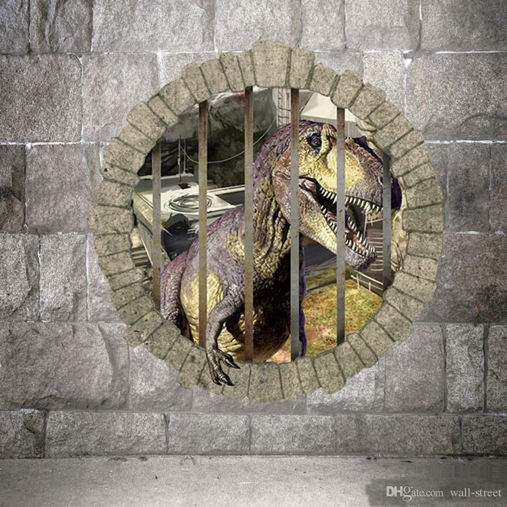 3d Dinosaur Wall Art 50*50cm 3d dinosaurs break the wall cartoon wall stickers jurassic