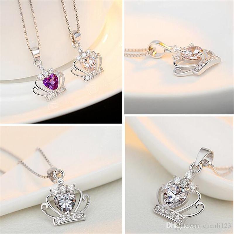 Collar colgante de la forma clásica de la púrpura real de la Corona con joyería de la boda cristalina de la CZ de las mujeres collares de oro blanco plateado