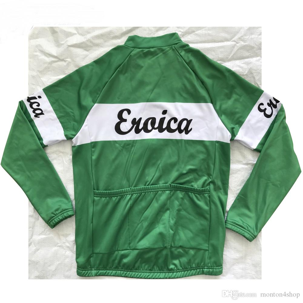 2019 Eroica Green Winter Thermal Fleece Cycling clothing MTB Bike Cycling Jersey Long Ropa Ciclismo Invierno Hombre Maillot