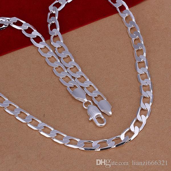 أزياء رجالية مجوهرات 925 الفضة الاسترليني مطلي سلسلة قلادة 4MM 16-24inches أعلى جودة شحن مجاني 1394
