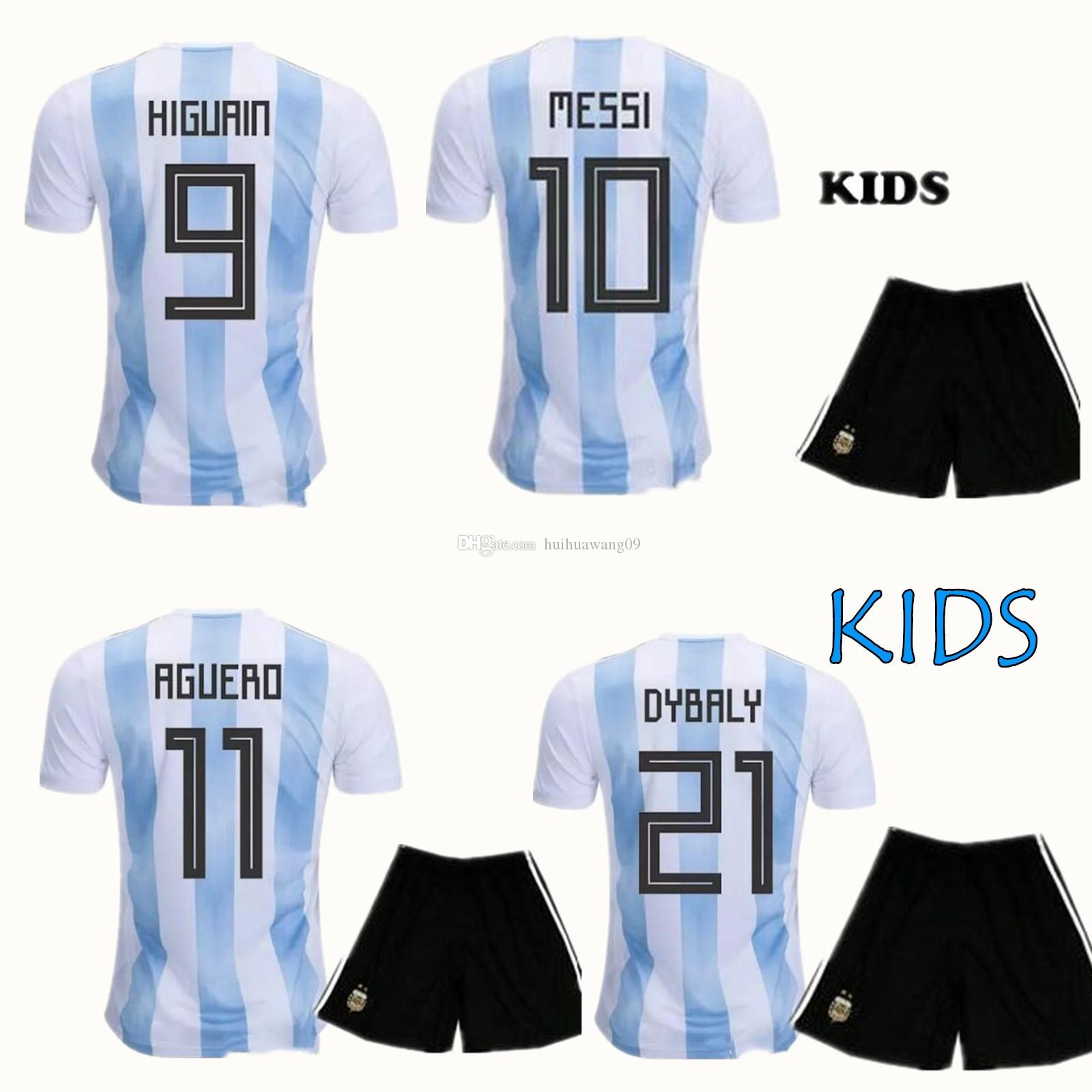 9c9687e7f 2019 2018 World Cup Argentina Kid Soccer Sets Youth Messi Jersey Di Maria  Kun Aguero Higuain Pastore Children Boy Home Soccer Set Football Kit From  ...