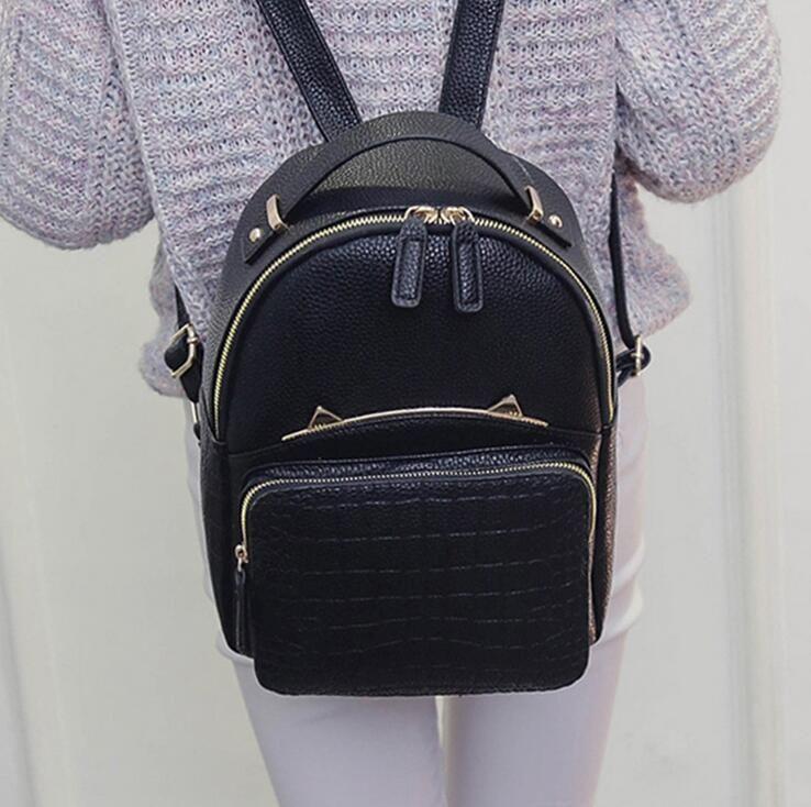 Fashion Women Backpack 2017 PU Leather Women Backpack Crocodile pattern metal cat ears Girl High Quality Travel Books Rucksack
