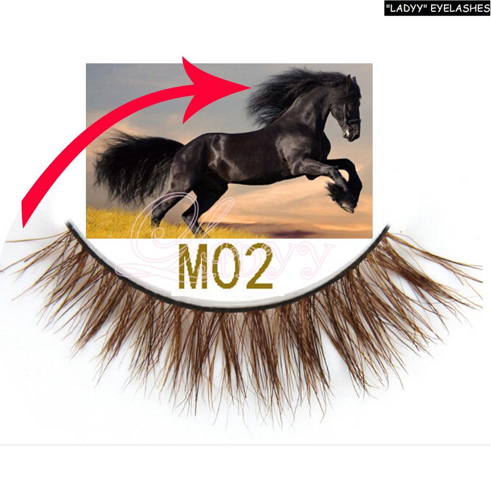 High quality horse fur eyelashes brown color horse hair eye lashes Real horse hair False Eye lashes m02