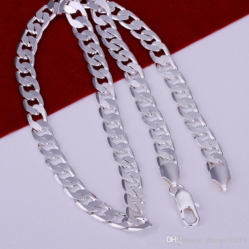 "2017 Fashion jewelry Hot Men's Necklace 925 Sterling Silver plated 8mm 20"" Flat Chains Mens Necklace men s"