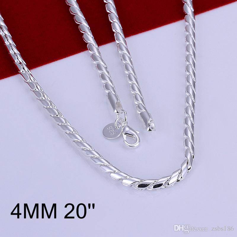 Fashion Men's Jewelry Plated 925 sterling silver twisted rope chain necklace 4MM X20inches Top quality low price