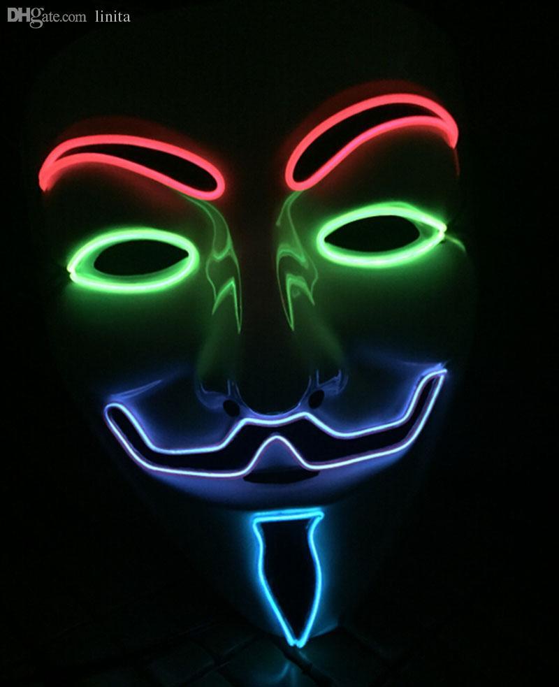 Wholesale El Wire Vendetta Mask Fashion V For Vendetta Halloween ...