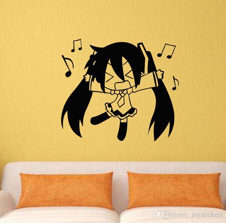 Anime Cartoon Q Style Hatsune Miku cantando musica Sketch Cool Propile Wall Sticker Decal Home Decor anime fan
