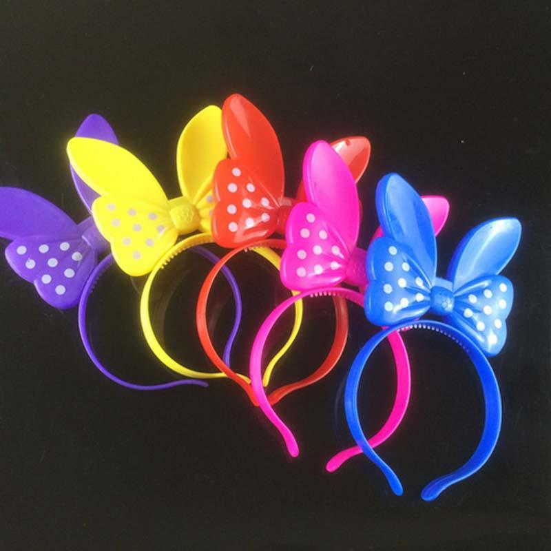 Light up Led Bows Headbands Birthday Party Girls Women Hair Accessories Weddings Carnival Birthday Led Rave Hair Accessories Toy