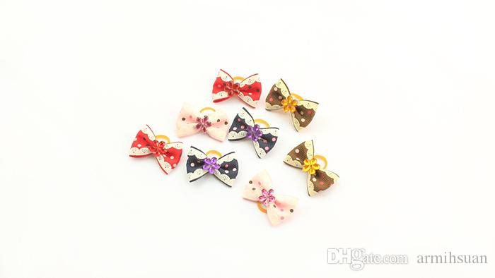 Armi store Handmade Dog Bow Pet Hair Bows Dogs Hair Accessories Grooming Products 11002 Cute Gift Mix Style