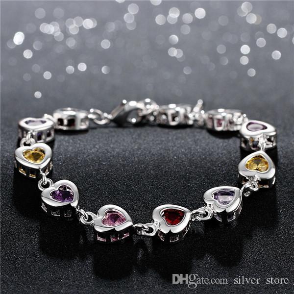 Hot Christmas Sale 925 Silver Stones Heart Armband DFMCH368, Gloednieuw geplateerd Sterling Zilveren Ketting Link Edelsteen Armbanden Hoogwaardig