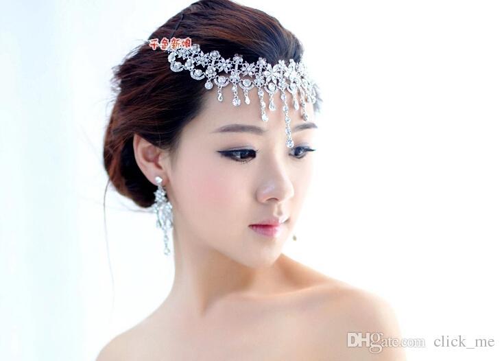 Yeni Varış Küpe Kolye Gelin Taç Romantik HOt Tow Adet Kristaller Düğün gelin Takı Seti Elbise saç Aksesuarları