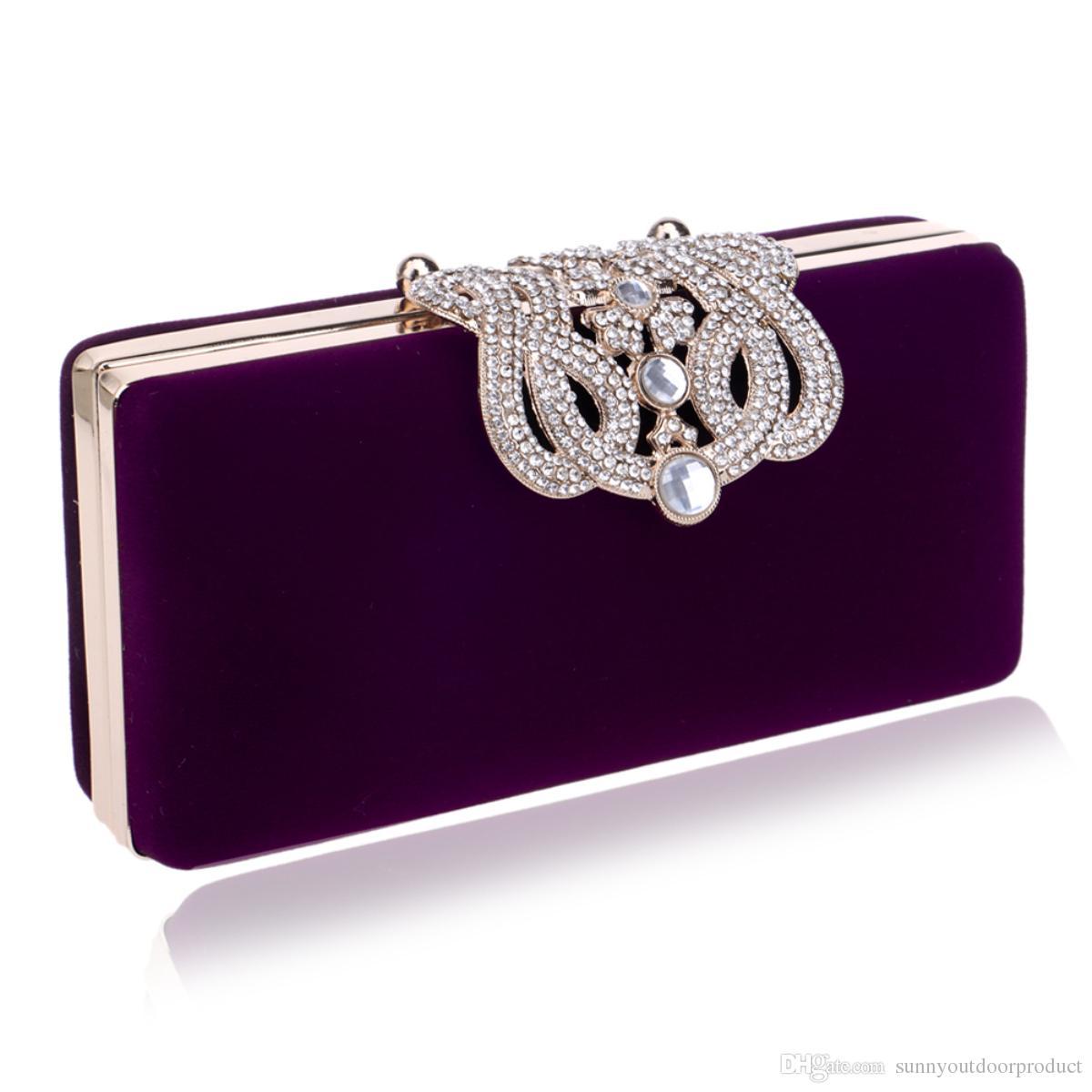 Women Fashion Clutch Evening bag Crown Rhinestone Exquisite lint Shoulder Bag Diamond Lady Portable Phone Handbag Wallet Purse For Wedding