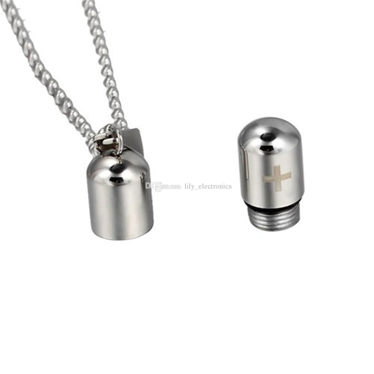 LilyPill perfume botella urna colgantes collares con patrón cruzado - joyería de la separación con collar de cadena de serpiente con una bolsa de regalo