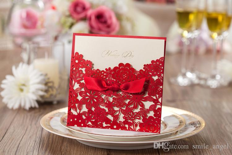 2019 Personalized Print Wedding Invitations Cards Elegant Red Laser Cut Flora with Ribbon 150*150cm CW5086 WISHMADE Party Cards Hot Selling