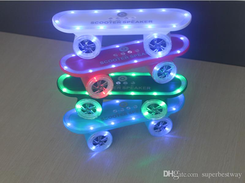 2016 Scooter Speakers Bluetooth Wireless LED Flash Light Music Super Bass Mix Colors Speaker For Smart Phones Laptop DHL Free MIS124