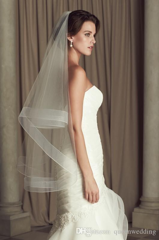 Free Shipping Simple Two Tier Mid Length Veil with Horsehair Trim Veils for Bridal Short Veils Cathedral Veils