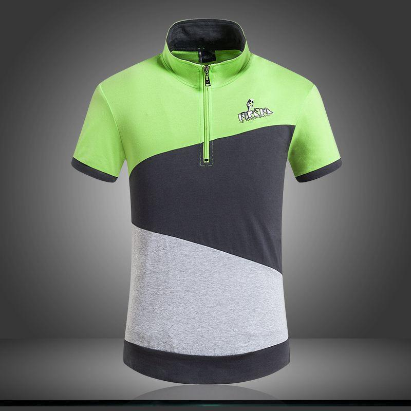 Summer style hit color stitching t shirt collar half zip for Mens shirt collar styles