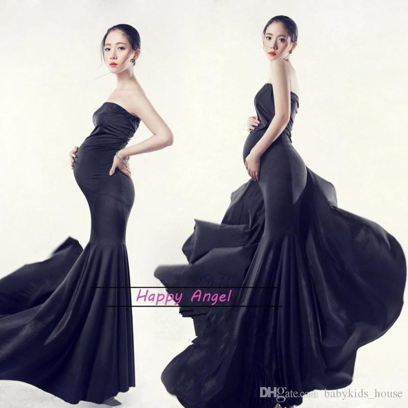 New Maternity Photography Props clothing for pregnant women Mermaid Dress Pregnancy black Romantic set Princess