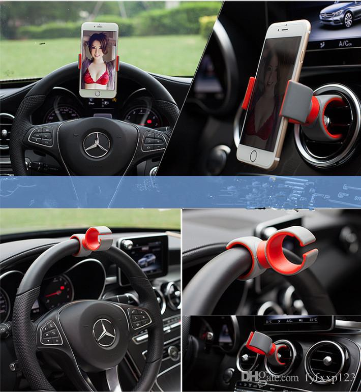 2017 Universal holder Car Streeling Wheel Cradle Holder SMART Clip Car Bicycle Bike Mount for Mobile iphone samsung Cell Phone GPS b35