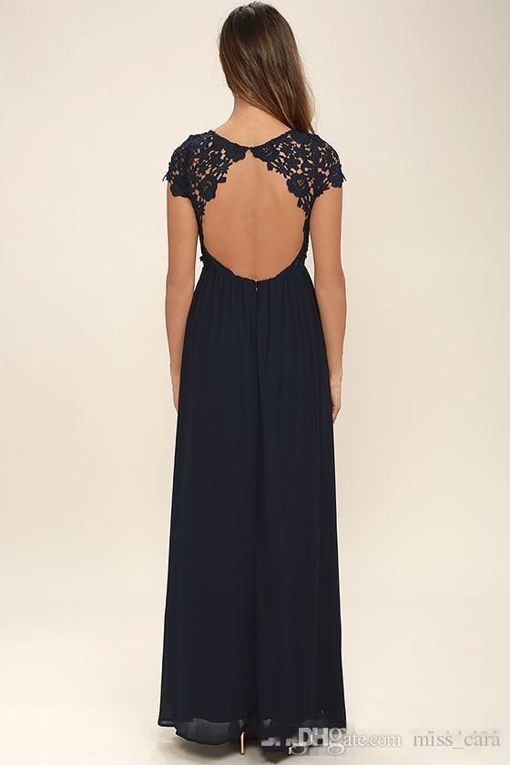 Cheap Western Country Style Dark Navy Chiffon Bridesmaid Dresses Long Backless Short Sleeves Lace Top Beach Bridesmaids Dress Max Gowns