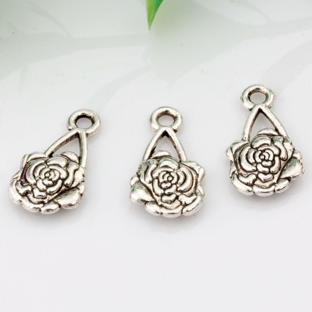 Heet ! 300 stks antieke zilveren legering bloem bedels 16,5 mm x10mm DIY-sieraden